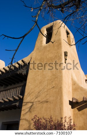 Typical adobe style archtecture in Santa Fe New Mexico - stock photo