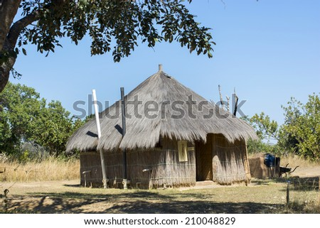 typical African hut made of straw