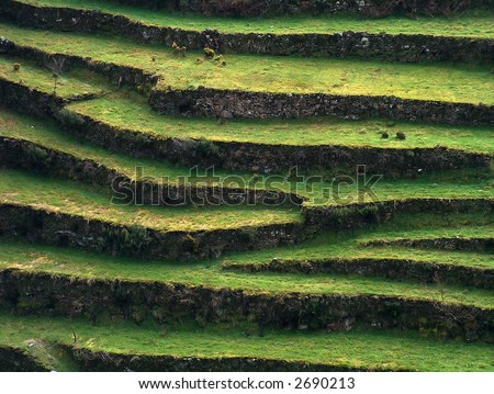Typical agricultural slopes in harsh terrain areas. - stock photo