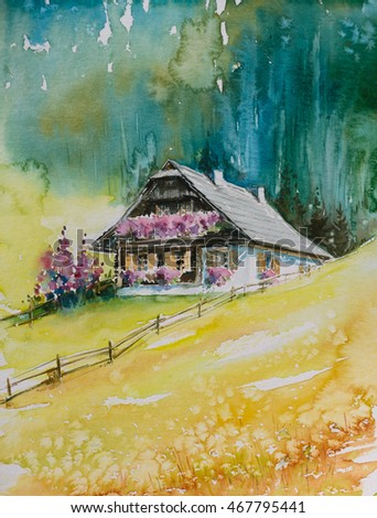Typical alpine house on a hill with forest in background.Picture created with watercolors.