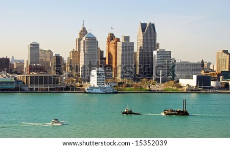 Typical American city skyline (Detroit, Michigan) - stock photo
