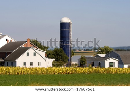 Typical Amish farm in Lancaster county in Pennsylvania USA without electricity. - stock photo