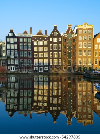 Typical Amsterdam Architecture - stock photo