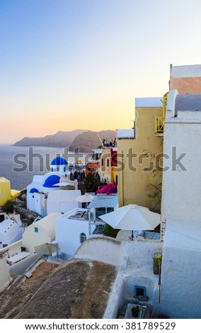 Typical and amazing view of Oia city, Santorini, Greece - stock photo
