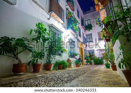 typical Andalusian courtyard decorated with flowers in the city of Cordoba, Spain - stock photo