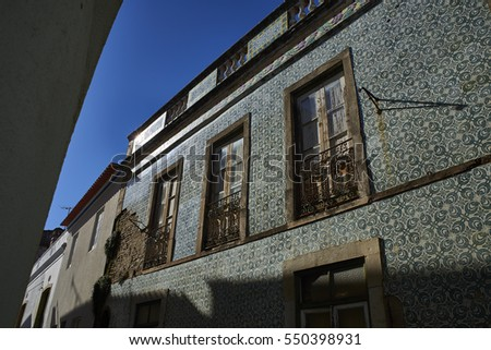 Typical antique tiled portuguese building in the downtown of Beja, Alentejo. Portugal.