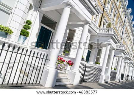 Typical Apartments Building at West-London, Kensington and Chelsea. - stock photo