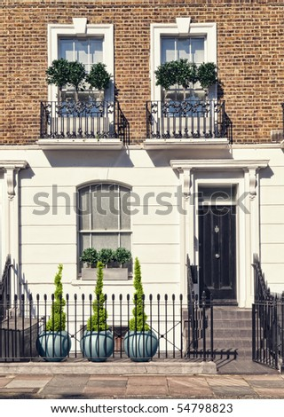 Typical Apartments Building at West-London, Kensington and Chelsea - stock photo