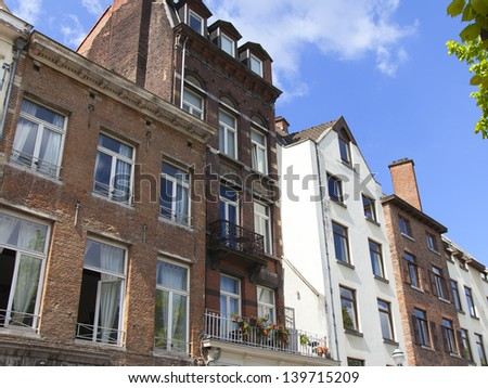 Typical architectural details of buildings in Brussels - stock photo
