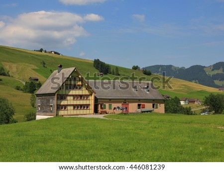 Typical architectural style in Appenzell. Old homestead.