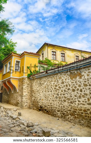 Typical architecture,historical medieval houses,Old city street view with colorful buildings in Plovdiv, Bulgaria. Ancient Plovdiv is UNESCO's World Heritage.HDR image - stock photo