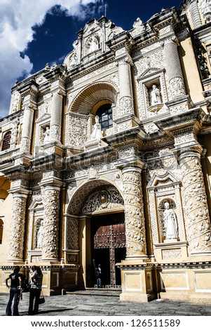 Typical architecture in Antigua Guatemala - stock photo