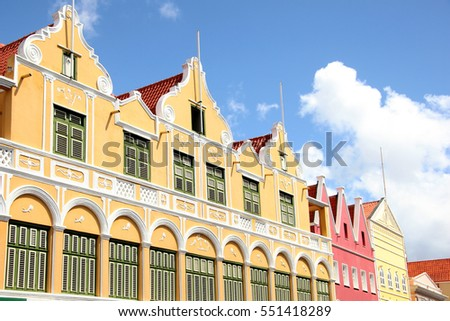 Typical architecture of the Dutch Antilles of Aruba, Curacao & Bonaire, Caribbean.