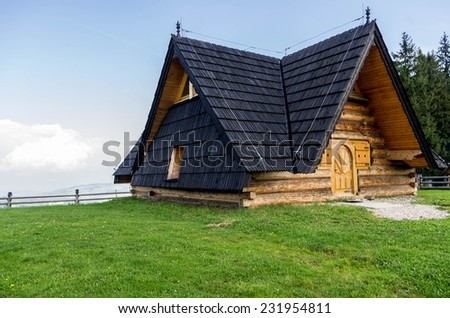 typical architecture of the Polish mountains - stock photo