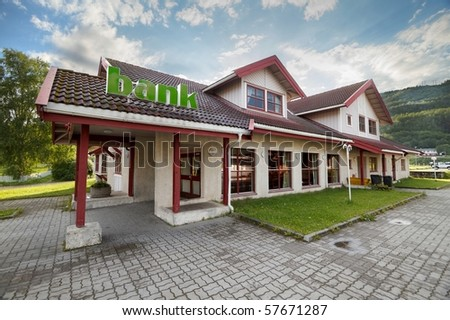 Typical architecture rural bank building in Norway - stock photo