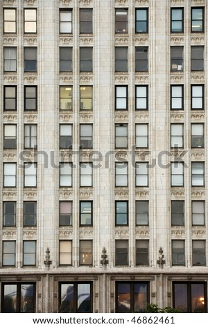 Typical Art Deco facade of Chicago highrise on Michigan avenue - stock photo
