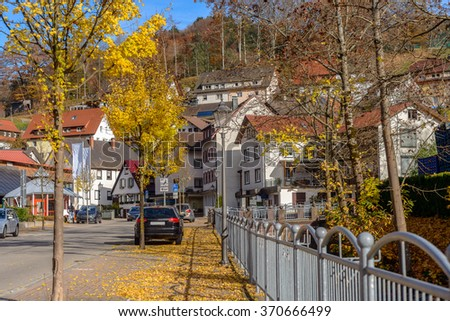 Typical, authentic village with cozy houses of the countryside in the Germany autumn - stock photo