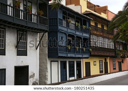 Typical balconies at La Palma. Canary Islands