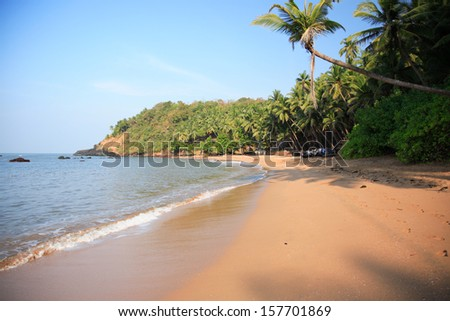 Typical beach in Goa India - stock photo
