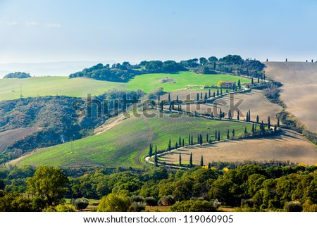 Typical beautiful Tuscan landscape-trees, grass, ski, villa. Italy