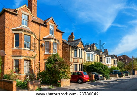 Typical brick town houses in Oxford. England, UK - stock photo