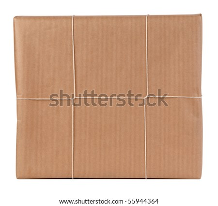 Typical brown paper parcel - stock photo