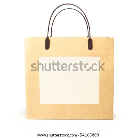 Typical brown shopping bag with blank white message area. - stock photo
