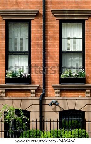 Typical brownstone in Brooklyn Heights neighborhood in spring, NYC - stock photo