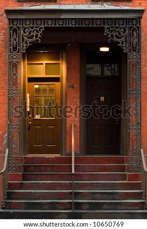 Typical brownstone in Greenwich village, famous Manhattan neighborhood - stock photo