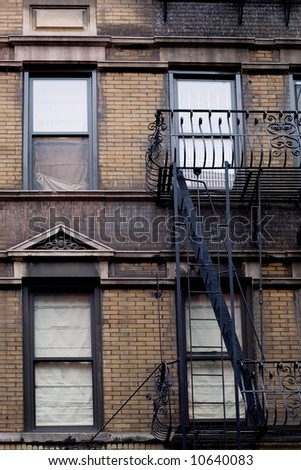 Typical brownstone in Greenwich village neighborhood of New York city - stock photo