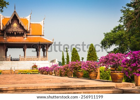 Typical buddhist monastery roof, Thailand - stock photo