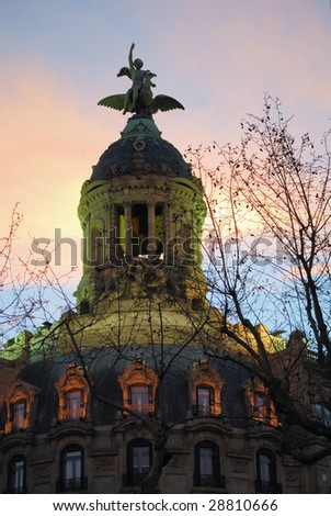 typical building in barcelona, spain, catalonia - stock photo