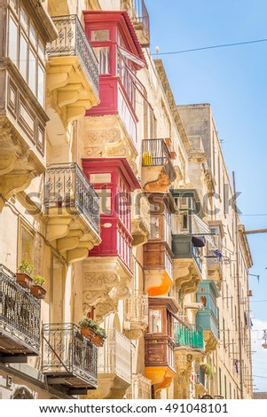 Typical Buildings Colorful Balconies in Valletta, Malta