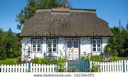 Typical captain's house near Wustrow and Born a. Darss, peninsula Fischland-Darss-Zingst, Germany - stock photo