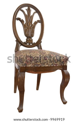 Typical chair (on white background) of 18 century middle class families. Beautiful craftsmanship example of German engravers on wood.