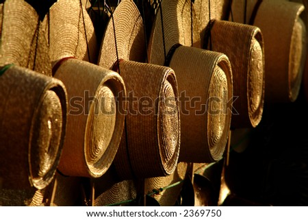 typical chilean farmer hats - stock photo