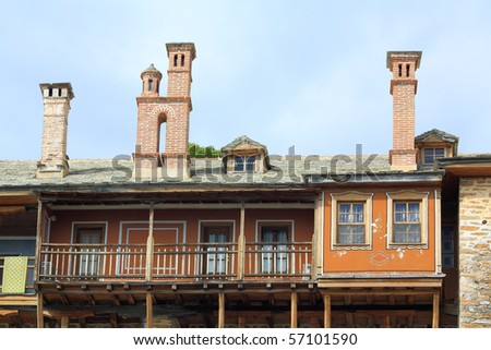 Typical chimnney constructions over guesthouses in monasteries of Mt Athos