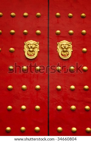 Typical Chinese door in a Temple in Taiwan. - stock photo