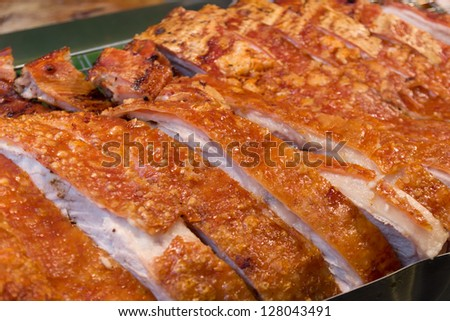 Typical Chinese style Roasted Pork in Market - stock photo