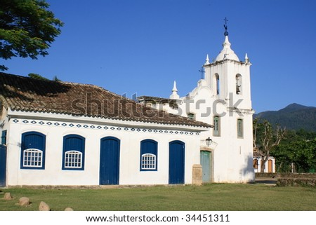 typical church in Parati - stock photo