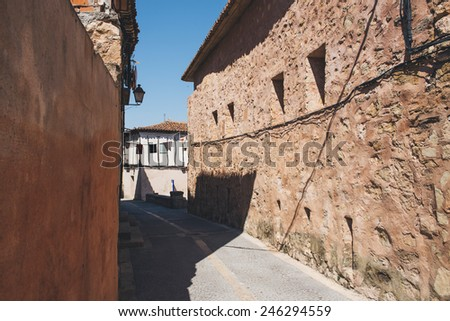 Typical cobbled street in Siguenza in Guadalajara, spain - stock photo