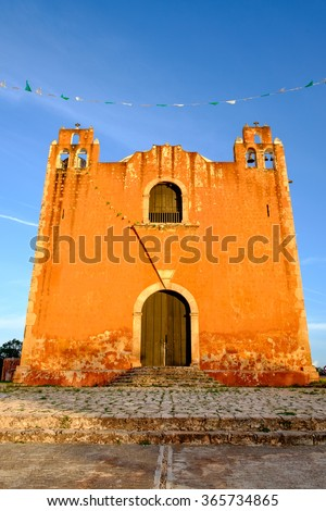 Typical colonial church in rural Mexican village Santa Elena, Mexico - stock photo