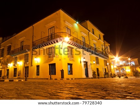 Typical colonial house in Old Havana illuminated at night