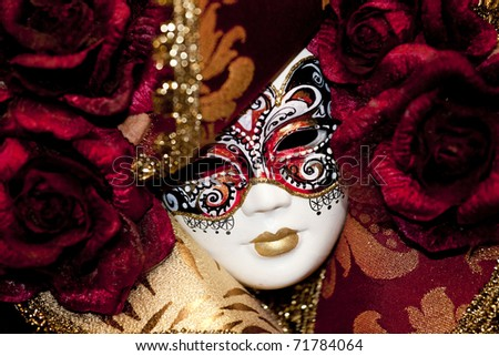 Typical colorful mask from the venice carnival - stock photo
