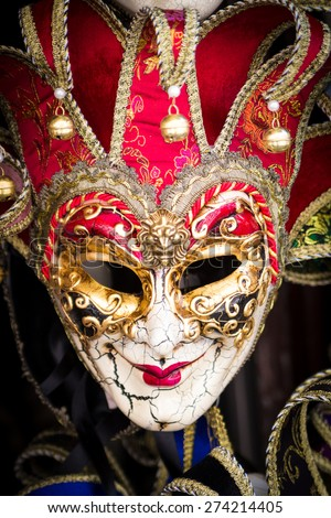 Typical colorful masks from the venice carnival - stock photo
