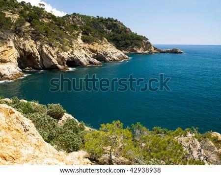 Typical Costa Brava landscape near Tossa de Mar in Spain - stock photo