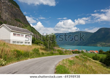Typical country house - hytte in Urnes (Ornes), Norway, Europe - stock photo