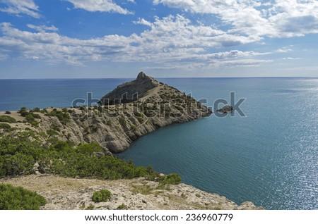 Typical Crimean seascape, shore of the Black Sea. - stock photo