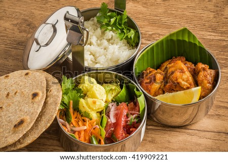 Typical curry set meal of meals south India - stock photo