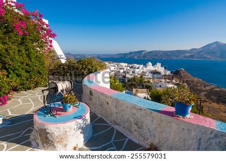 Typical Cycladic Architecture, Plaka village, Milos island, Cyclades, Greece - stock photo